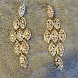 Stunning gold AB stone chandelier earrings
